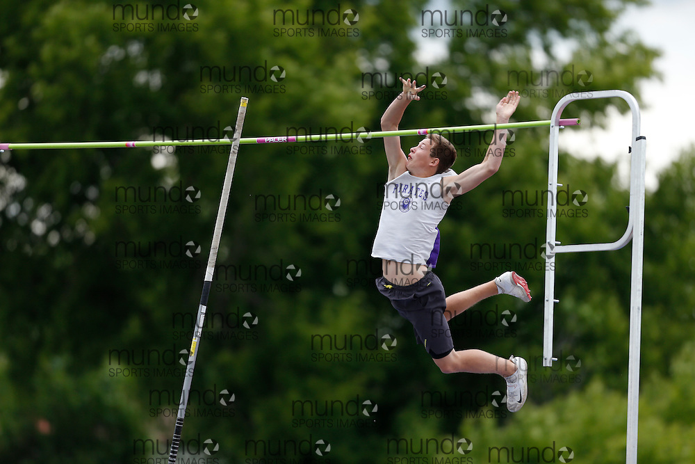 of  competes in the pole vault at the 2013 OFSAA Track and Field Championship in Oshawa Ontario, Saturday,  June 8, 2013.<br /> Mundo Sport Images/ Geoff Robins