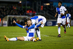 Matt Taylor of Bristol Rovers celebrates with Byron Moore after scoring his 2nd goal of the game to make it 2-0 - Rogan Thomson/JMP - 31/12/2016 - FOOTBALL - Memorial Stadium - Bristol, England - Bristol Rovers v AFC Wimbledon - Sky Bet League One.