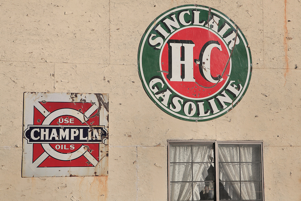 Sinclair Gasoline and Champlin Oils Signs - Eldorado Canyon - Nelson NV