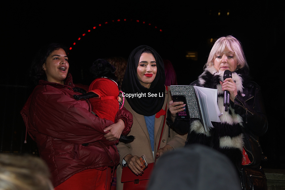 London, UK, 20th Dec 2017. Speaker Girls gang protests calling upon the government to provide free sanitary products to every girl in the UK who receives free school meals at Richmond Terrace, London, UK.