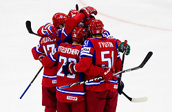 Players of Russia celebrate during ice-hockey match between Russia and Slovenia of Group A of IIHF 2011 World Championship Slovakia, on May 1, 2011 in Orange Arena, Bratislava, Slovakia. (Photo By Vid Ponikvar / Sportida.com)