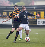 Dundee's Peter MacDonald and Alloa Athletic's Ben Gordon - Alloa Athletic v Dundee, SPFL Championship at Recreation Park, Alloa<br /> <br />  - &copy; David Young - www.davidyoungphoto.co.uk - email: davidyoungphoto@gmail.com