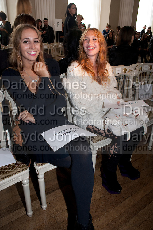 HARLEY VERA NEWTON; JOSEPHINE DE LA BAUME, Julian Macdonald fashion show. Banqueting House. London. 19 September 2010. -DO NOT ARCHIVE-© Copyright Photograph by Dafydd Jones. 248 Clapham Rd. London SW9 0PZ. Tel 0207 820 0771. www.dafjones.com.