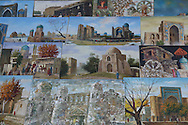 Paintings of Uzbekistan at a tourists' market in Tashkent