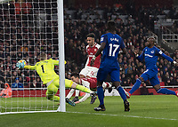 Football - 2017 / 2018 Premier League - Arsenal vs. Everton<br /> <br /> Laurent Koscielny (Arsenal FC) with the diving header to score Arsenal's second goal at The Emirates.<br /> <br /> COLORSPORT/DANIEL BEARHAM