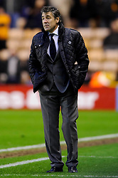 Wolves Manager Dean Saunders (WAL) looks unimpresed on the touchline after Blackpool score a winner during the second half of the match - Photo mandatory by-line: Rogan Thomson/JMP - Tel: Mobile: 07966 386802 26/01/2013 - SPORT - FOOTBALL - Molineux Stadium - Wolverhampton. Wolverhampton Wonderers v Blackpool - npower Championship.