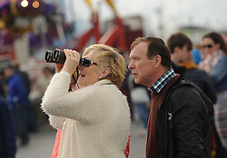 Getting a closer look… Patricia Crampton originally from Donegal now Westport with her binoculars at the Westport Airshow.<br />