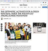 The New Yorker, December 23, 2018 - Sunrise Movement protest near the office of US Representative Nancy Pelosi (D-CA) to advocate that Democrats support the Green New Deal, at the US Capitol in Washington, DC on December 10, 2018.