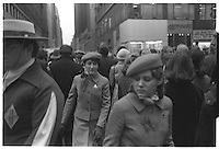 Girls in the crowd, St Patrick's day, New-York City, street photography, 1980. Tri-X