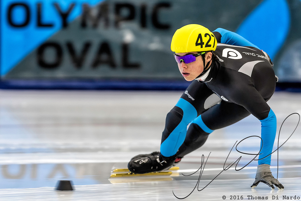 December 17, 2016 - Kearns, UT - William Valentine skates during US Speedskating Short Track Junior Nationals and Winter Challenge Short Track Speed Skating competition at the Utah Olympic Oval.