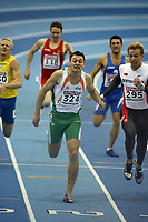 Photo: Rich Eaton.<br /> <br /> EAA European Athletics Indoor Championships, Birmingham 2007. 03/03/2007. David Gillick of Ireland #324 lunges for the line and wins the gold medal in the final of the mens 400m