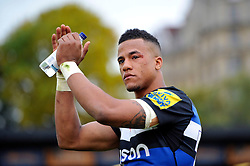Anthony Watson of Bath Rugby acknowledges the crowd after the match - Mandatory byline: Patrick Khachfe/JMP - 07966 386802 - 17/10/2015 - RUGBY UNION - The Recreation Ground - Bath, England - Bath Rugby v Exeter Chiefs - Aviva Premiership.