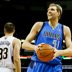Dec 4, 2013; New Orleans, LA, USA; Dallas Mavericks power forward Dirk Nowitzki (41) reacts after being fouled during the second half of a game against the New Orleans Pelicans at New Orleans Arena.The Mavericks defeated the Pelicans 100-97. Mandatory Credit: Derick E. Hingle-USA TODAY Sports