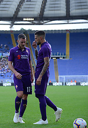 October 7, 2018 - Rome, Italy - Jordan Veretout, Cristiano Biraghi during the Italian Serie A football match between S.S. Lazio and Fiorentina at the Olympic Stadium in Rome, on october 07, 2018. (Credit Image: © Silvia Lore/NurPhoto/ZUMA Press)