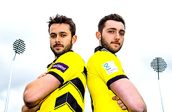 Brothers Jack Taylor (L) and Matt Taylor (R) of Gloucestershire CCC pose for a portrait - Mandatory by-line: Robbie Stephenson/JMP - 04/04/2016 - CRICKET - Bristol County Ground - Bristol, United Kingdom - Gloucestershire  - Gloucestershire Media Day