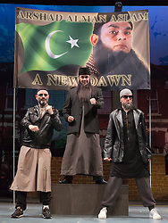 """© Licensed to London News Pictures. 08/10/2014. London, England. L-R: Andrew Paul, Alexander Andreou and Steven Serlin. The Musical """"The Infidel"""", based on the same named film by David Baddiel,  premieres at the Theatre Royal Stratford East, London. Directed by David Baddiel and Kerry Michael, book and lyrics by David Baddiel with music by Erran Baron Cohen. The Infidel is a story about Muslim man Mahmoud (Kev Orkian) who discovered that he is not only adopted but also Jewish. Photo credit: Bettina Strenske/LNP"""