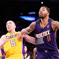 10 December 2013: Los Angeles Lakers point guard Steve Blake (5) vies for the rebound with Phoenix Suns power forward Markieff Morris (11) during the Phoenix Suns 114-108 victory over the Los Angeles Lakers at the Staples Center, Los Angeles, California, USA.