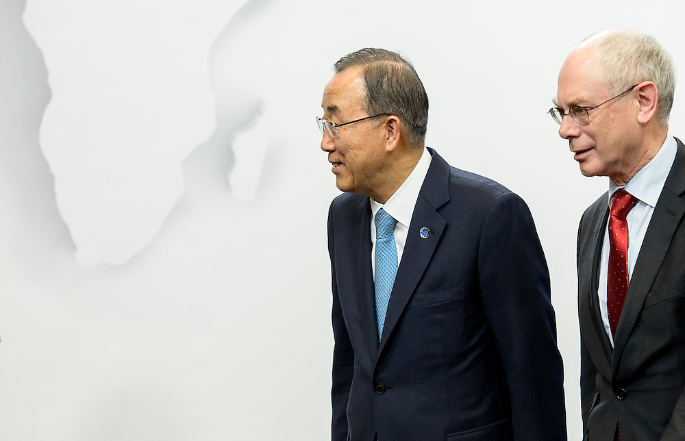 Ban Ki-Moon, Secretary-General of the United Nations (L) arrives for bilateral meeting with Herman Van Rompuy , the president of the European Council    at European Council headquarters in Brussels, Belgium on 01.04.2014 by Wiktor Dabkowski