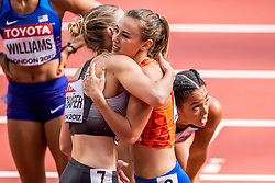 05-08-2017 IAAF World Championships Athletics day 2, London<br /> Nadine Visser NED (zevenkamp) wint de 100 meter horden. Carolyn Schafer GER