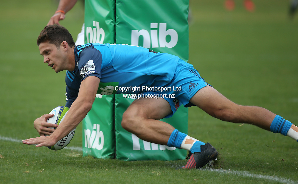 Blues wing Matt Duffie scores the first try during the Blues vs Chiefs pre season Super Rugby match played at Alexandra Park in Auckland on the 17th February 2017. <br /> Credit; Peter Meecham/ www.photosport.nz