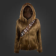 A Furry 'Star Wars' Hoodie That Makes the Wearer Look Like Chewbacca<br /> <br /> Good news, Star Wars fans there is now a hoodie sweater with luxuriant, long brown (fake) fur that lets you dress up as Chewbacca, the legendary Wookiee hero from Star Wars.<br /> <br /> hoodie, offered by welovefine.com for $60, also features a bandolier across the chest. <br /> ©Welovefine/Exclusivepix