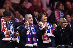 21.11.2014, Stade Pierre Mauroy, Lille, FRA, Davis Cup Finale, Frankreich vs Schweiz, im Bild Jean Gachassin (Praesident FFT) jubelt // during the Davis Cup Final between France and Switzerland at the Stade Pierre Mauroy in Lille, France on 2014/11/21. EXPA Pictures © 2014, PhotoCredit: EXPA/ Freshfocus/ Valeriano Di Domenico<br /> <br /> *****ATTENTION - for AUT, SLO, CRO, SRB, BIH, MAZ only*****