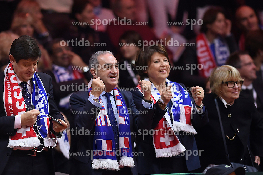 21.11.2014, Stade Pierre Mauroy, Lille, FRA, Davis Cup Finale, Frankreich vs Schweiz, im Bild Jean Gachassin (Praesident FFT) jubelt // during the Davis Cup Final between France and Switzerland at the Stade Pierre Mauroy in Lille, France on 2014/11/21. EXPA Pictures &copy; 2014, PhotoCredit: EXPA/ Freshfocus/ Valeriano Di Domenico<br /> <br /> *****ATTENTION - for AUT, SLO, CRO, SRB, BIH, MAZ only*****