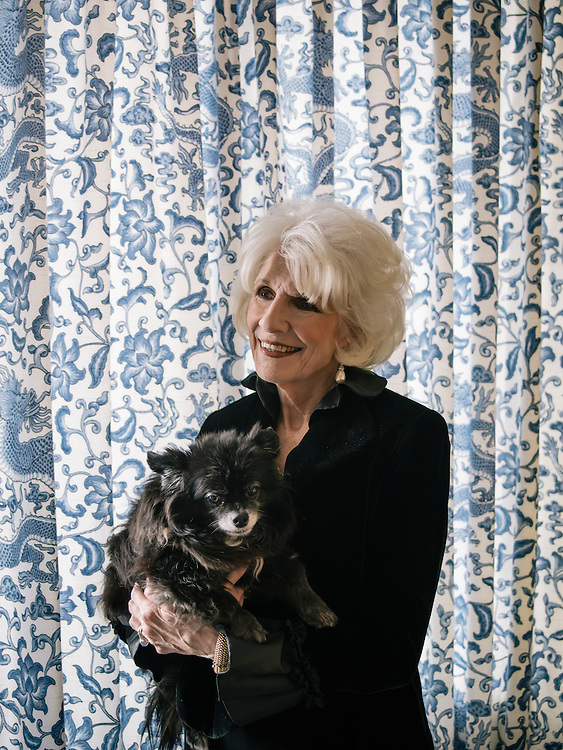 Diane Rehm with her dog, Maxie, a long haired Chihuahua, at her home in Washington, D.C.