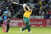 Luke Wood of Nottinghamshire Outlaws hits big during the Vitality T20 Blast North Group match between Nottinghamshire County Cricket Club and Worcestershire County Cricket Club at Trent Bridge, West Bridgford, United Kingdon on 18 July 2019.