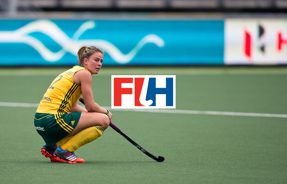 Hockey World Cup 2014<br /> The Hague, Netherlands <br /> Day 4 Womens Germany v South Africa <br /> Kathleen Tayler of South Africa after going down to Germany 3-1<br /> Photo: Grant Treeby<br /> www.treebyimages.com.au