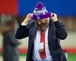 VIENNA, AUSTRIA - Thursday, October 6, 2016: Wales' head of international affairs Mark Evans wearing an Austria Vienna hat ahead of the 2018 FIFA World Cup Qualifying Group D match at the Ernst-Happel-Stadion. (Pic by David Rawcliffe/Propaganda)