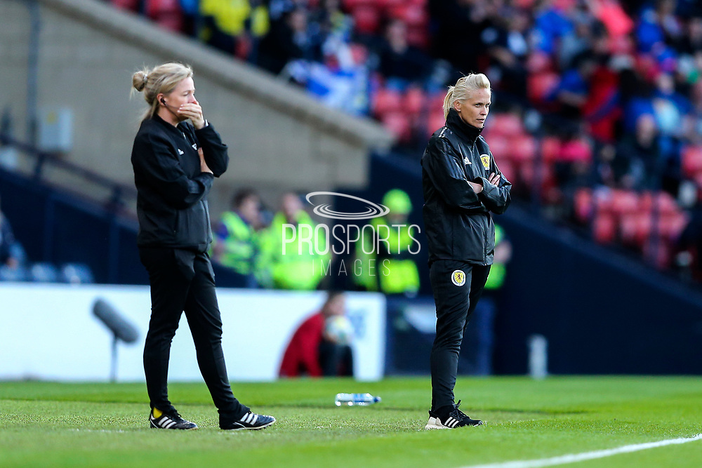 Scotland manager Shelley Kerr looks on from the side line during the International Friendly match between Scotland Women and Jamaica Women at Hampden Park, Glasgow, United Kingdom on 28 May 2019.