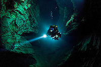 Slovene cave diver Matej Mihailovski exploring the sumps of »Janos Molnar« cave under the city of Budapest, Hungary.