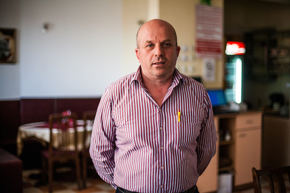 "Portrait of the restaurant owner where the meeting with the institutions about ""Patients Rights of the Roma"" in  Delcevo, Macedonia took place."