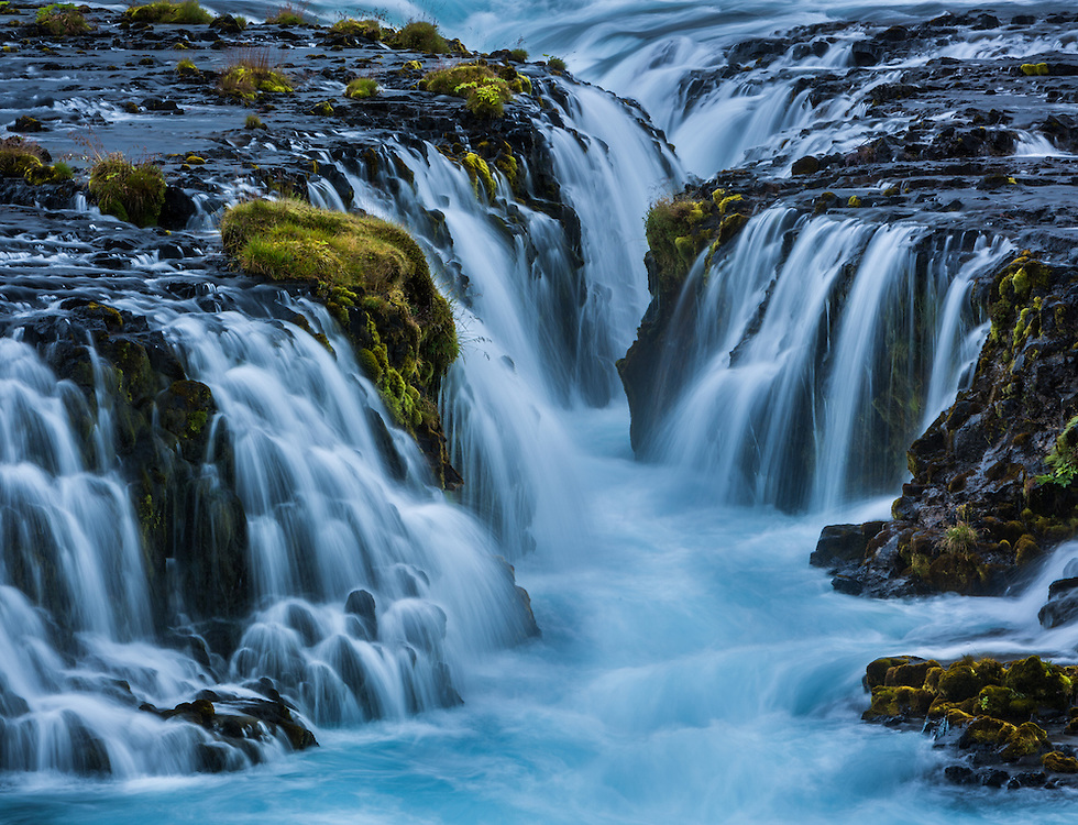 Intimate details of bruarfoss waterfall in Iceland.