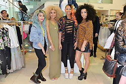 Left to right, Asami Zdrenka, Jess Plummer, Amira McCarthy and Shereen Cutkelvin of Neon Jungle at a party to celebrate the launch of French Connection's #CANTHELPMYSELFIE -The UK's first in-store interactive selfie booths and windows held at French Connection, 249-251 Regent Street, London on 15th April 2014.