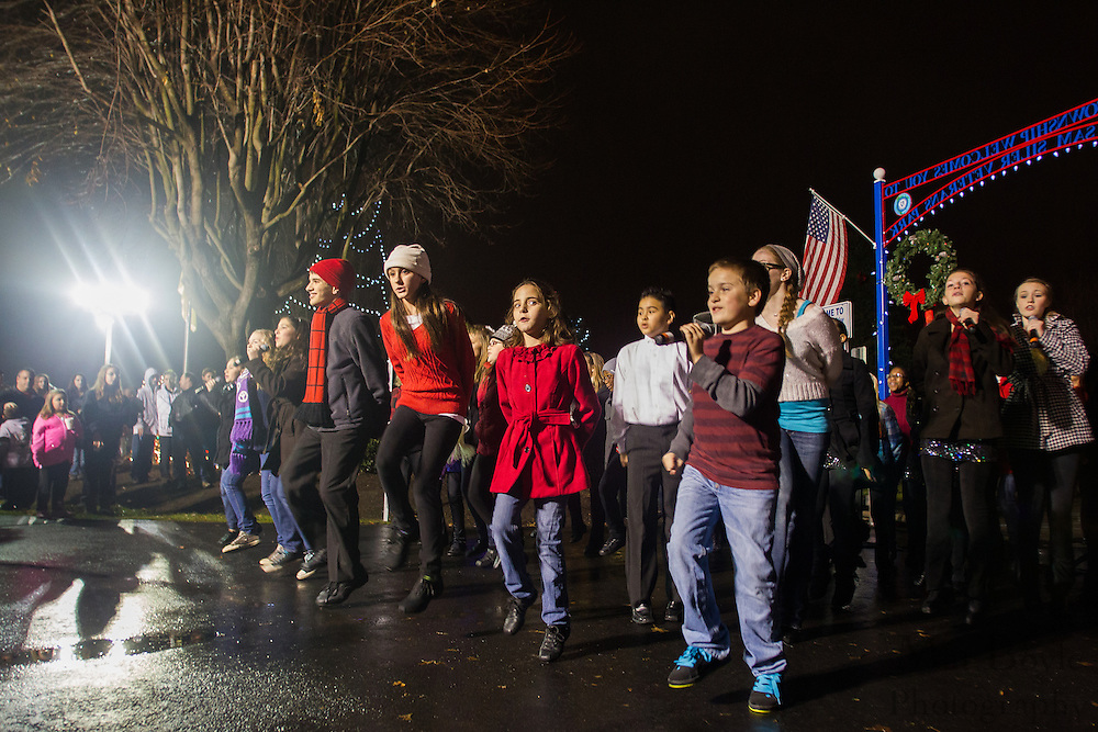 The Encore Choir from MainStage Center for the Arts performs a song during Gloucester Township Third Annual Tree Lighting  at Veterans Park in Gloucester Township, NJ on Sunday December 16, 2012. (photo / Mat Boyle)