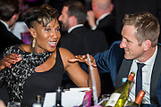 Denise Lewis and Will Greenwood - UK charity, Sport for Freedom (SFF), marks Anti-Slavery Day 2015 by hosting a charity Gala Dinner, supported by Aston Martin, on Thursday 15th October at Stamford Bridge, home of Chelsea Football Club. This inaugural event brought together people from the world of sport, entertainment, media, and business to unite behind a promise to tackle the issue of modern day human trafficking and slavery.  <br /> Hosted by Sky presenters Sarah-Jane Mee and Jim White, the Sport for Freedom Gala Dinner includes guests such as jockey AP McCoy OBE; Denise Lewis, former British Olympic Gold Medal winner; BBC Strictly star, Brendan Cole; Al Bangura, former Watford FC player and Sport for Freedom Ambassador who was trafficked from Africa to the UK at the age of just 14yrs old; Made in Chelsea star, Ollie Proudlock; ITV weather presenter, Lucy Verasamy; Sky Sports F1 presenter and SFF Ambassador, Natalie Pinkham; Premier League footballers Ryan Bertrand of Southampton FC and Troy Deeney of Watford FC and champion boxer, Anthony Joshua; and The UK's first independent Anti Slavery Commissioner, Kevin Hyland OBE, who highlighted the issues of modern day slavery that face the UK and world today. <br /> The evening concluded with chart topping music from 'Naughty Boy'. <br /> Sport for Freedom are also joining forces with the Premier League Academies for an international  'Football for Freedom' tournament with their U16's players that will also involve educating those taking part about the issues surrounding modern day slavery. The final will take place at Liverpool FC's Academy on Anti-Slavery Day, 18th October.