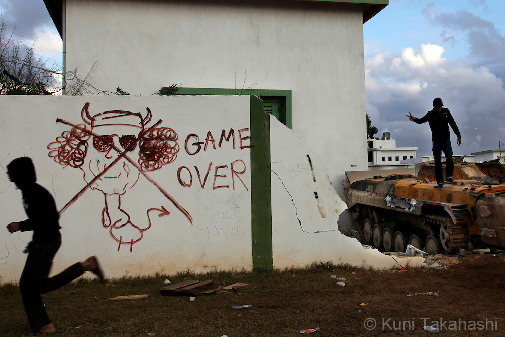 Vandalized building at Col. Muammar Gaddafi's housing complex in Benghazi, Libya, on Feb 26, 2011 after the property was attacked by the oppositions early this week..Photo by Kuni Takahashi