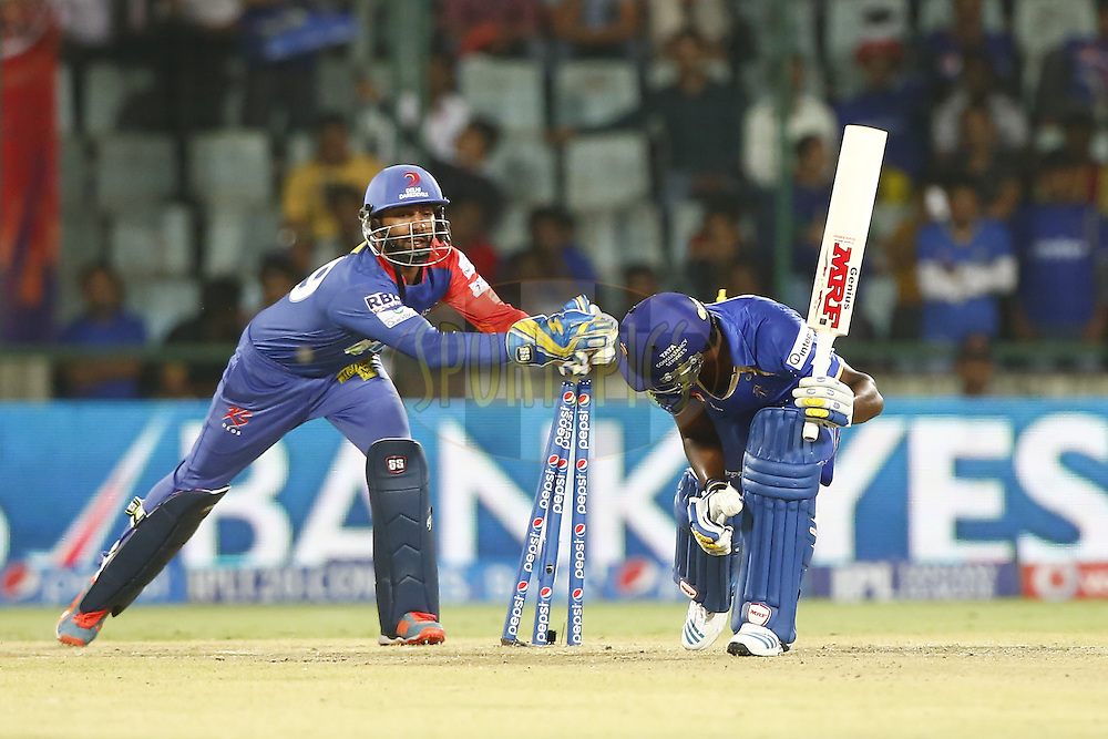 Dinesh Karthik of the Delhi Daredevils trying to stamping during match 23 of the Pepsi Indian Premier League Season 2014 between the Delhi Daredevils and the Rajasthan Royals held at the Feroze Shah Kotla cricket stadium, Delhi, India on the 3rd May  2014<br /> <br /> Photo by Deepak Malik / IPL / SPORTZPICS<br /> <br /> <br /> <br /> Image use subject to terms and conditions which can be found here:  http://sportzpics.photoshelter.com/gallery/Pepsi-IPL-Image-terms-and-conditions/G00004VW1IVJ.gB0/C0000TScjhBM6ikg