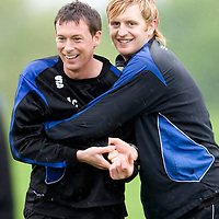 St Johnstone Training.... Stuart McCaffrey and Liam Craig fool about during training ahead of tomorrows game againts Morton<br /> see story by Gordon Bannerman....Tel: 07729 865788<br /> Picture by Graeme Hart.<br /> Copyright Perthshire Picture Agency<br /> Tel: 01738 623350  Mobile: 07990 594431