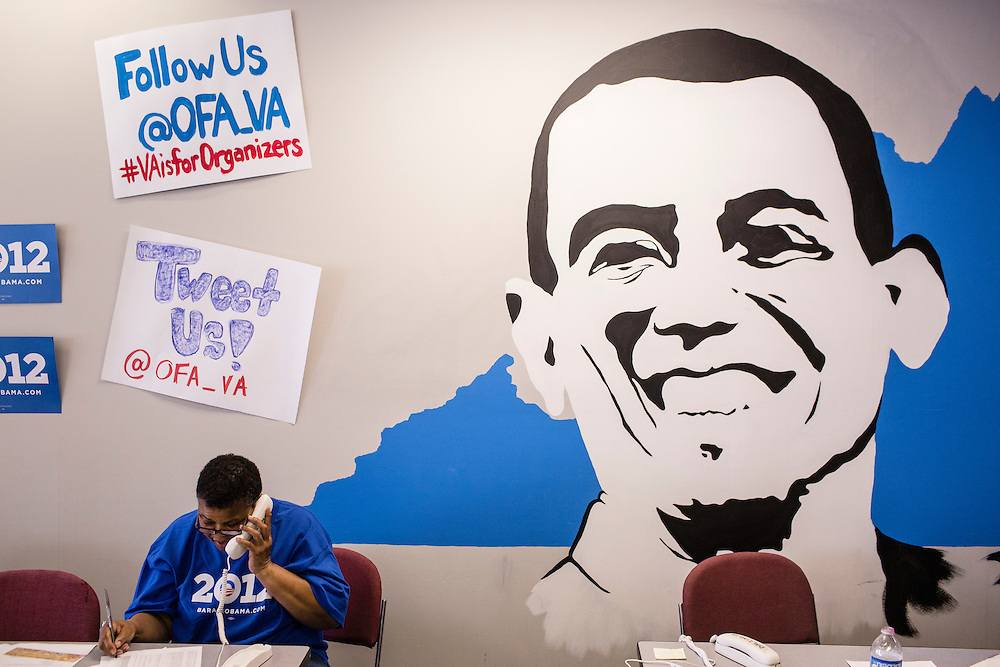A volunteer with Organizing for America, President Obama's re-election campaign arm, makes phone calls to potential supporters in the group's Richmond headquarters on Thursday, May 3, 2012 in Richmond, VA.