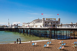 © Licensed to London News Pictures. 09/09/2017. Brighton, UK. The Brighton Palace Pier and beach basks in the late summer sunshine. Photo credit: Hugo Michiels/LNP