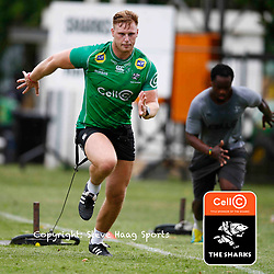 Jean-Luc du Preez of the Cell C Sharks during The Cell C Sharks training session at Jonsson Kings Park Stadium in Durban, South Africa. 18 March 2019 (Mandatory Byline Steve Haag)