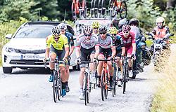 12.07.2019, Kitzbühel, AUT, Ö-Tour, Österreich Radrundfahrt, 6. Etappe, von Kitzbühel nach Kitzbüheler Horn (116,7 km), im Bild Spitzengruppe, v.l.: Lukas Spengler (Wallonie Bruxelles, CHE), Connor Swift (Arkea Samsic, GBR), Patrick Gamper (Tirol KTM Cycling Team, AUT) // during 6th stage from Kitzbühel to Kitzbüheler Horn (116,7 km) of the 2019 Tour of Austria. Kitzbühel, Austria on 2019/07/12. EXPA Pictures © 2019, PhotoCredit: EXPA/ JFK