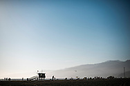 Lifeguard shacks on the beach in Santa Monica, CA. © Brett Wilhelm