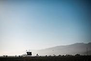 Lifeguard shacks on the beach in Santa Monica, CA. © Brett Wilhelm