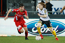 January 28, 2018 - Oostende, BELGIUM - Oostende's Aleksandar Bjelica and Lokeren's Guus Hupperts fight for the ball during the Jupiler Pro League match between KV Oostende and Sporting Lokeren, in Oostende, Sunday 28 January 2018, on the day 24 of the Jupiler Pro League, the Belgian soccer championship season 2017-2018. BELGA PHOTO KURT DESPLENTER (Credit Image: © Kurt Desplenter/Belga via ZUMA Press)