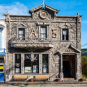 As a part of Klondike Gold Rush National Historical Park, the Arctic Brotherhood Hall (built 1899) is faced with driftwood, in Skagway, Alaska, USA. Skagway was founded in 1897 on the Alaska Panhandle. Skagway's population of about 1150 people doubles in the summer tourist season to manage more than one million visitors per year. Half of Alaska's total visitors come via cruise ships. Klondike Gold Rush National Historical Park commemorates the late 1890s Gold Rush with three units in Municipality of Skagway Borough: Historic Skagway; the White Pass Trail; and Dyea Townsite and Chilkoot Trail. (A fourth unit is in Pioneer Square National Historic District in Seattle, Washington.)