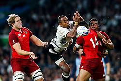 Fiji Inside Centre Gabiriele Lovobalavu is challenged by England Winger Anthony Watson - Mandatory byline: Rogan Thomson/JMP - 07966 386802 - 18/09/2015 - RUGBY UNION - Twickenham Stadium - London, England - England v Fiji - Rugby World Cup 2015 Pool A.